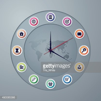 Vector illustration of a clock with hands infographics