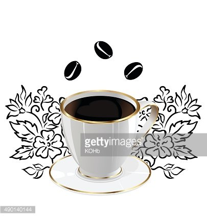 Cup coffee isolated with floral elements