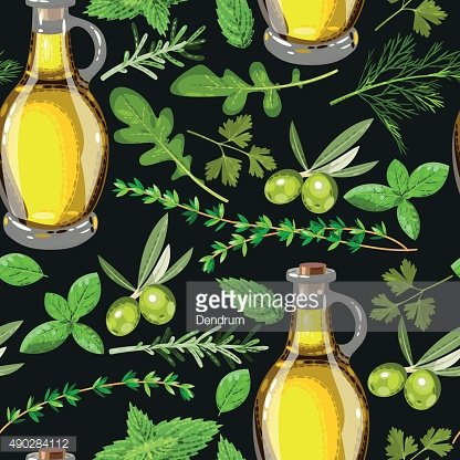 Seamless olive oil and herbs