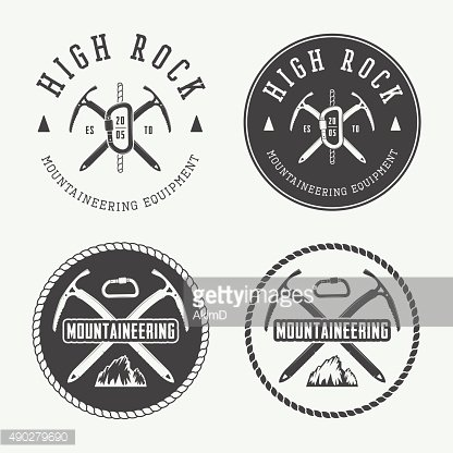 Vintage mountaineering logos, badges, emblems.