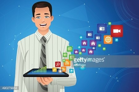 Businessman Showing Multimedia Icons from His Tablet