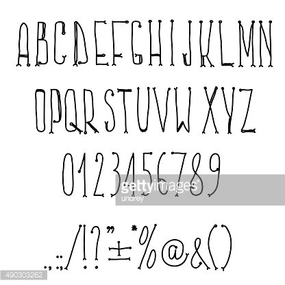 Type letters, numbers and punctuation marks Hand drawin alphabet handwritting
