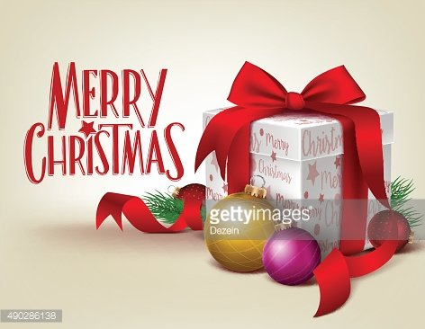 3D Realistic Red Gift with Merry Christmas Greeting in Background