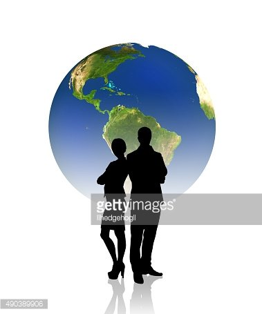 People silhouettes in front of the globe