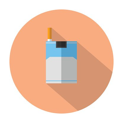 cigarette flat icon with long shadow