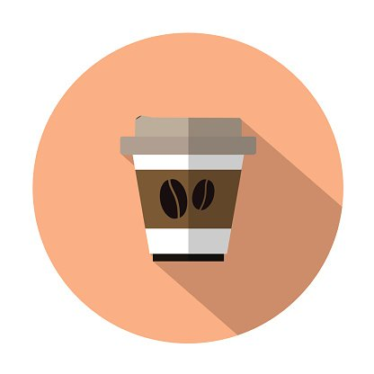 takeaway coffee flat icon with long shadow