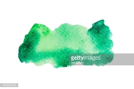 Watercolor hand drawn isolated green and yellow spot. Raster illustration