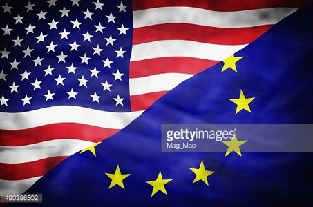 United States of America and European Union mixed flag.