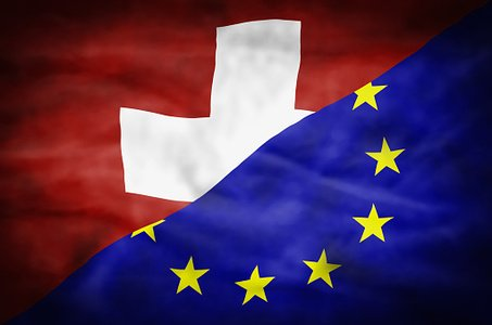 Switzerland and European Union mixed flag.