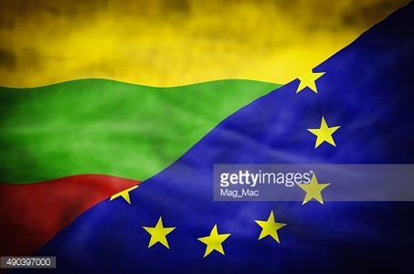 Lithuania and European Union mixed flag.