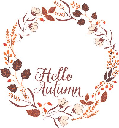 Floral Frame Collection. Sign Hello Autumn