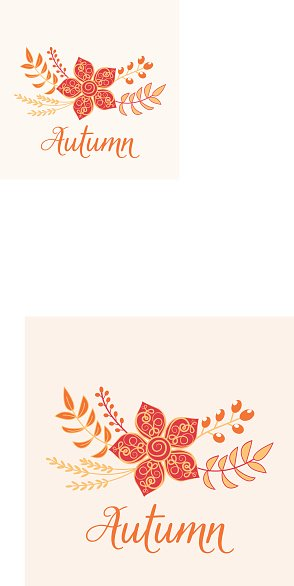 Autumn floral card. Nature symbol vector collection