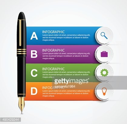 Business infographic design template. Colored ink pens.