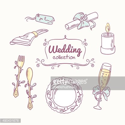 Wedding table decoration in doodle style. Hand drawn celebration clip