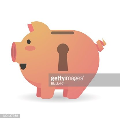 Piggy bank with a keyhole