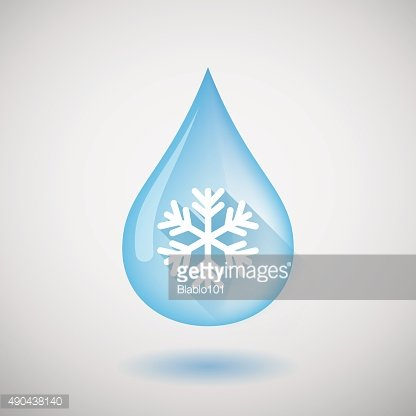 Water drop with a snow flake