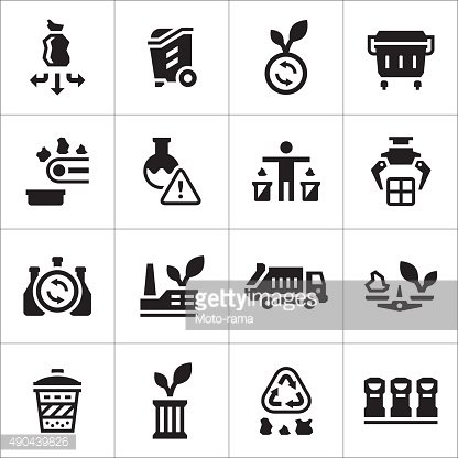 Set icons of recycling