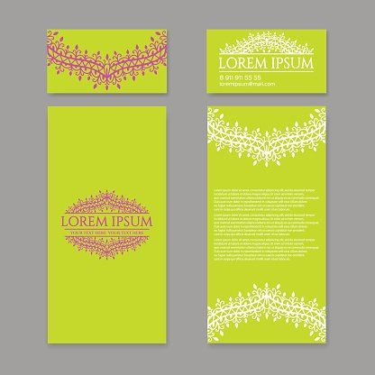 Floral pattern design template. May be used for Business card