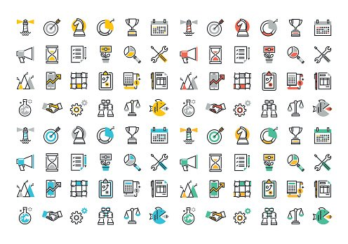 Flat line colorful icons collection of corporate business and marketing