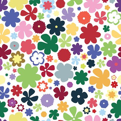 Simple beauty flower seamless pattern. Multicolor vector illustration good for