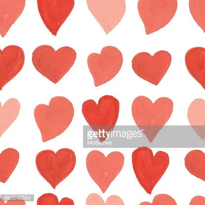 Watercolor red and pink hearts seamless pattern. Vector background