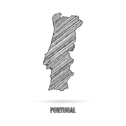 Portugal map hand draw