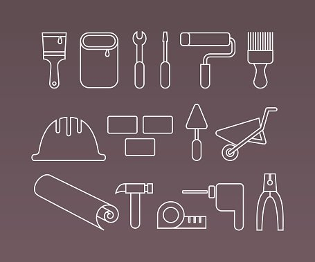 Construction icons, working tools and equipment. Thin Line vector elements