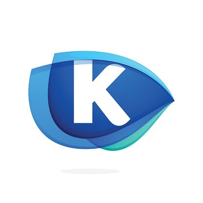 K letter icon with blue wing or eye.