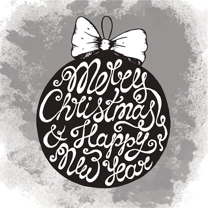 Christmas greeting card with cute hand drawn text on ball