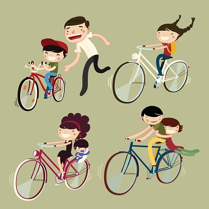 family on bicycles. family bike riders. vector illustration
