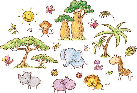 Set of African animals and plants