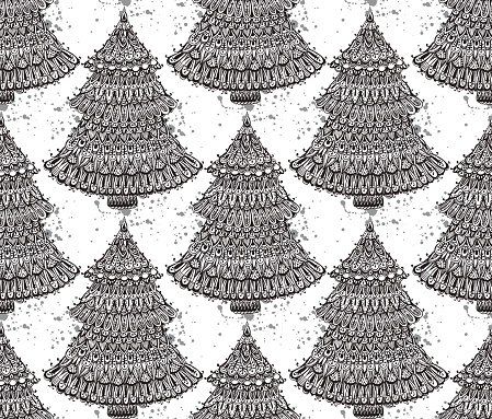 Seamless vector pattern with hand drawn doodle christmas trees