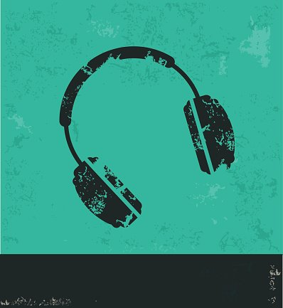 Earphone design on green background,vector