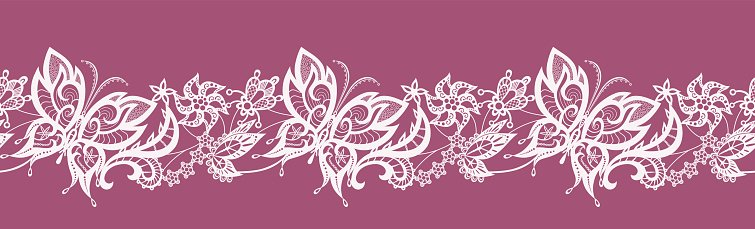 Abstract ribbon lace with flowers and butterflies