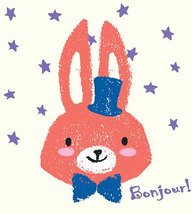Cute sketch bunny with blue bow and hat