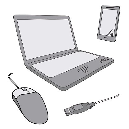 Sketch illustration of notebook and mobile.