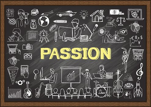 Doodles about passion on chalkboard