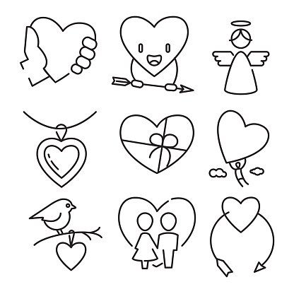 Vector linear flat color love and wedding icons
