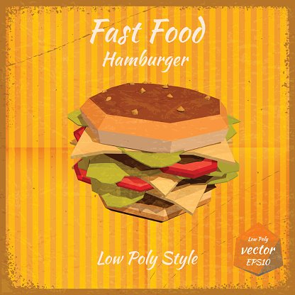 Hamburger on a retro background in low-polygonal style. Grunge.