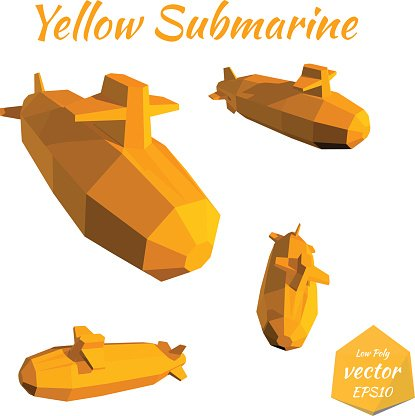 Set submarines isolated on white background. Yellow Submarine.