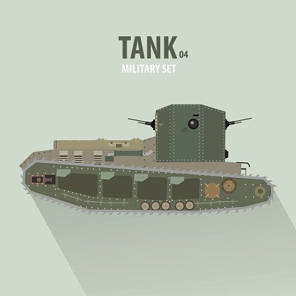 Battle Tank in Side View, military vector illustration, flat design