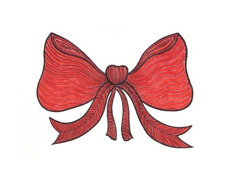 Graphic bow. Drawing color pencils