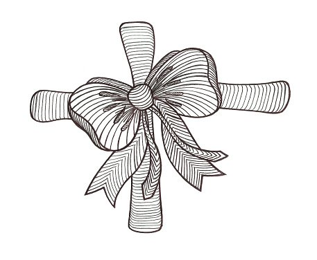 Graphic bow. Black and white