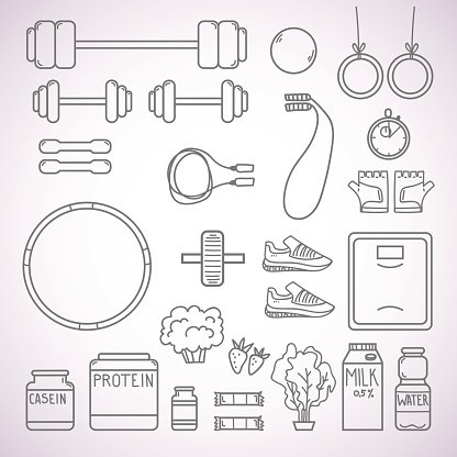 Hand-drawn vector illustration - Fitness and Health icons.