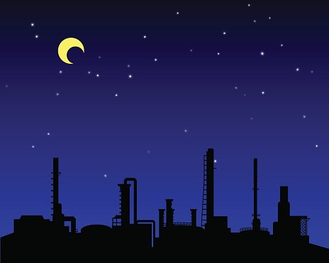 Oil refinery industry silhouette at night