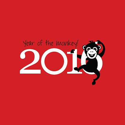 2016 New Year card or background with monkey.