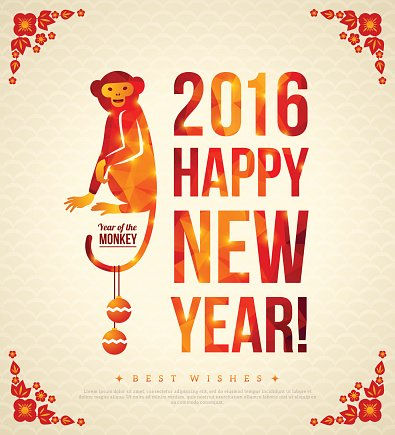 Happy Chinese New Year 2016 Greeting Card with Sitting Monkey.