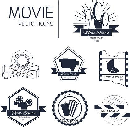 Set of vector cinema emblems
