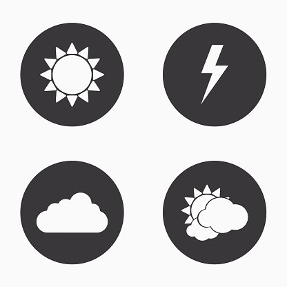 Vector modern weather icons set