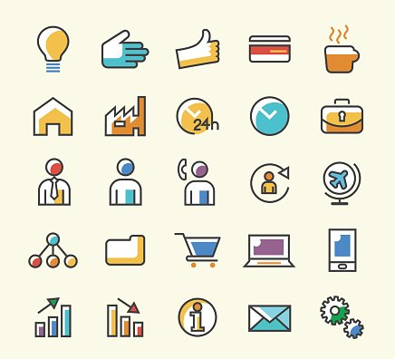Set of 25 Minimalistic Solid Line Coloured Icons.